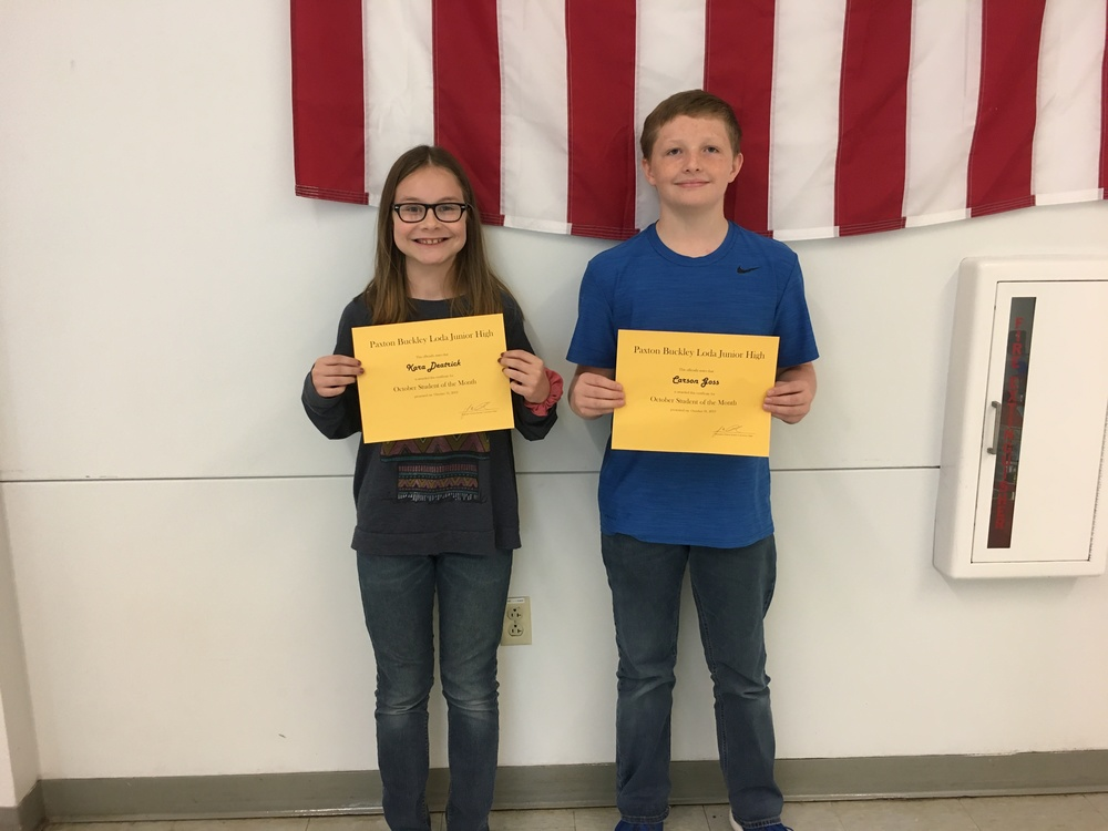 6th Grade October Students of the Month