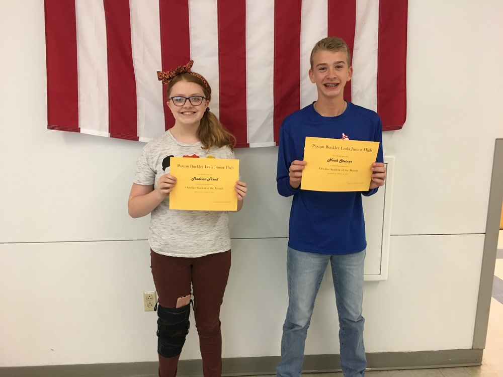 8th Grade October Students of the Month