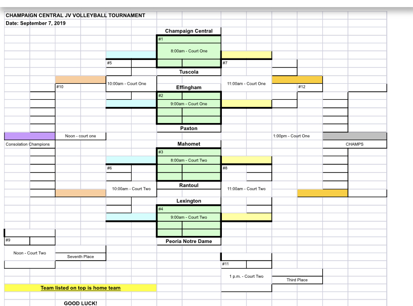 Central JV Tournament Schedule