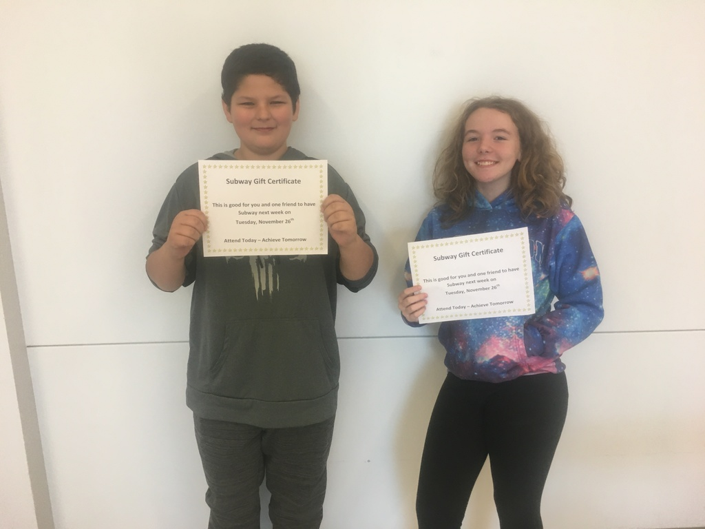 7th Grade Attendance Raffle Winners - November 22, 2019